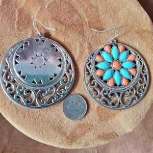 Large silver with turquoise and coral colored gems